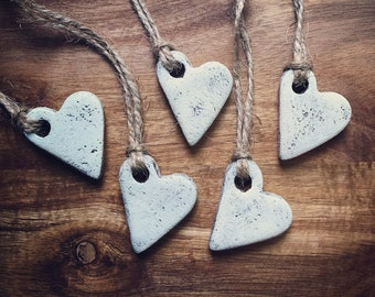 Heart Ornaments / Salt Dough Ornaments / Set of 5 / Rustic Hearts / Guest Favors / Valentine Heart / White Wash Hearts
