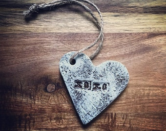 XOXO Ornament / Salt Dough  / Rustic Heart /  Valentine Heart