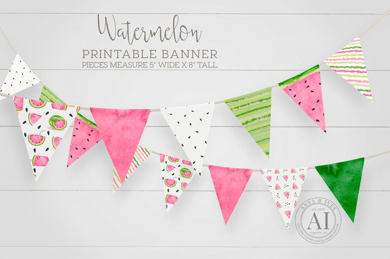 Printable Watermelon Pennant Banner