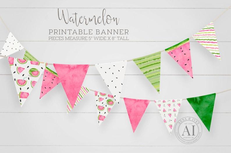 Printable Watermelon Pennant Banner