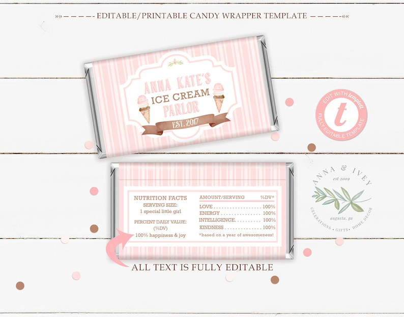 Ice Cream Parlor Decorations Invitations Favors Templett PRINTABLE /& EDITABLE Ice Cream Party Kit- Stripes Edit in Your Browser