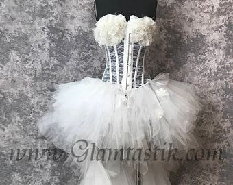 READY to SHIP Size medium White tulle rose lace high low Burlesque feather Corset Prom day of the dead witch costume dress