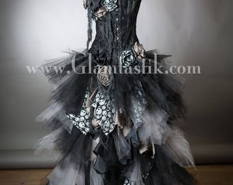 jack skellington custom size black and gray high low tulle burlesque corset nightmare before christmas dress small xl