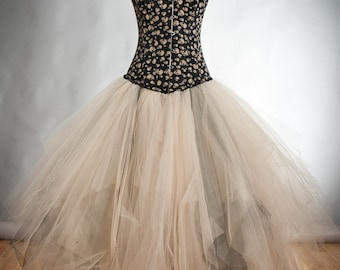 Custom Size ivory and black skulls and tulle burlesque prom dress witch costume available in S-XL