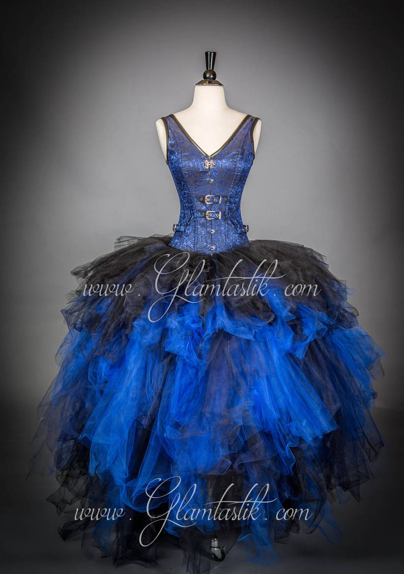 037af19a79 Size Small Blue and Black Burlesque SteamPunk Corset tulle