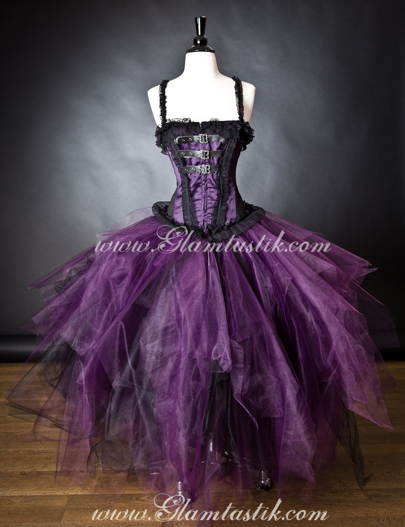 3b2172579b Custom Size Purple Plum and Black lace buckle Witch Burlesque