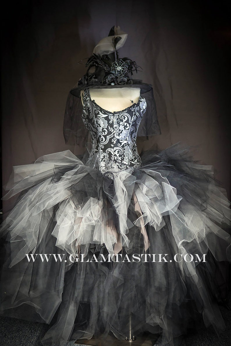 f2d38966cd Size XL silver and Black brocade high low Tulle Burlesque