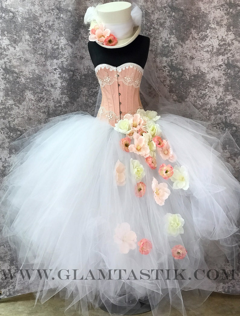 e324c901e0 Size Small white ivory and peach burlesque steampunk victorian