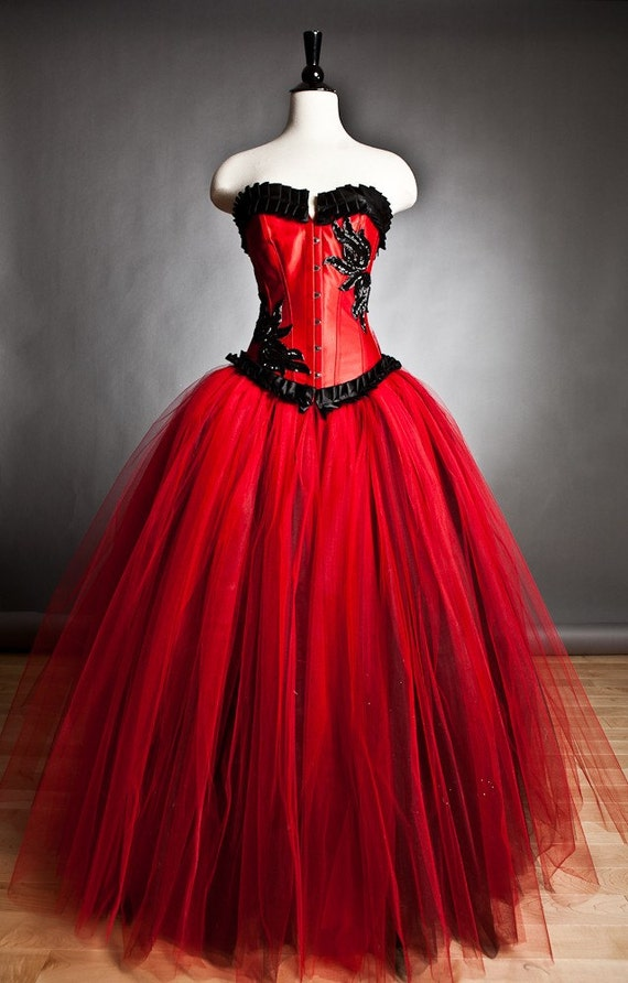 Custom Size Red And Black Burlesque Corset Ball Gown S Xl Etsy