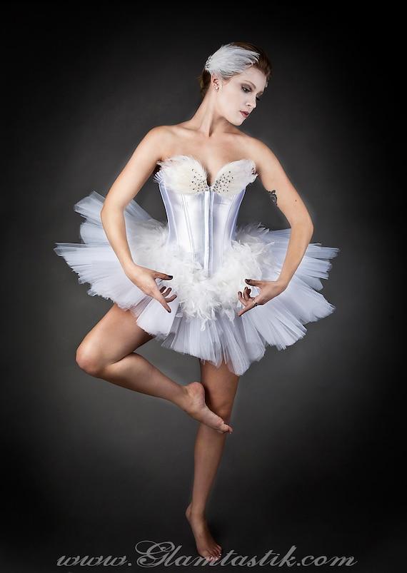 Benutzerdefinierte Größe White Swan Ballet Kostüm Burlesque tutu