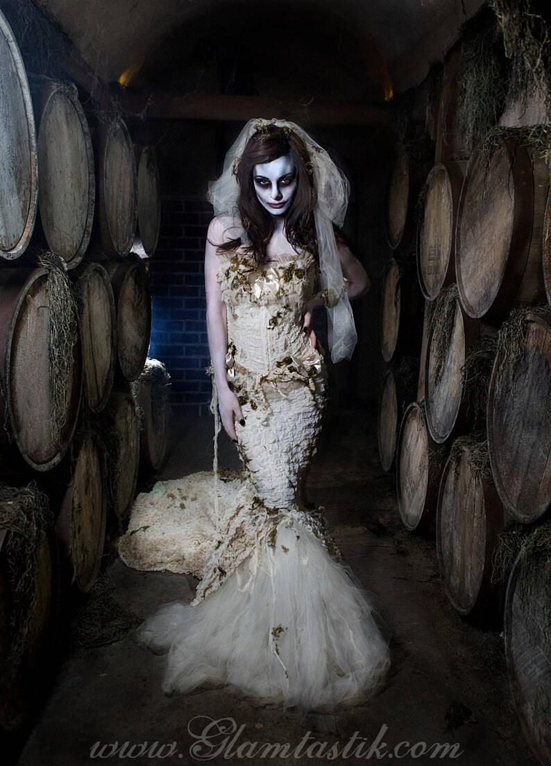 5deeff58cd1 Custom Size Ivory Burlesque zombie Bride corset mermaid style