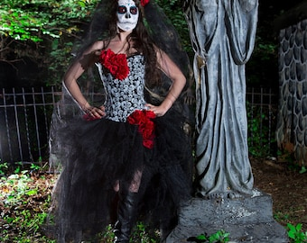 Custom Size Red White and black skulls and tulle burlesque prom dress with roses Day of the Dead costume Ready To Ship
