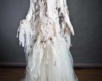 Custom Size Ivory Burlesque Mummy corset with moss mermaid style train dress with gloves and neckpiece S-XL