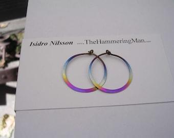 Niobium Rainbow Colored Hoop Earrings In Varioue Sizes