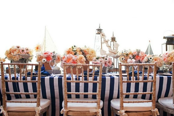 Sale Navy Blue And White Striped Tablecloths And Wedding