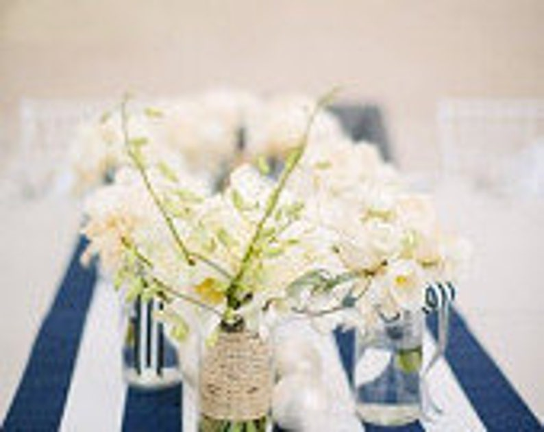 Navy Blue And White Stripe Wedding Table Runners Wedding Table Wedding Decor Striped Table Runner Navy Table Runner