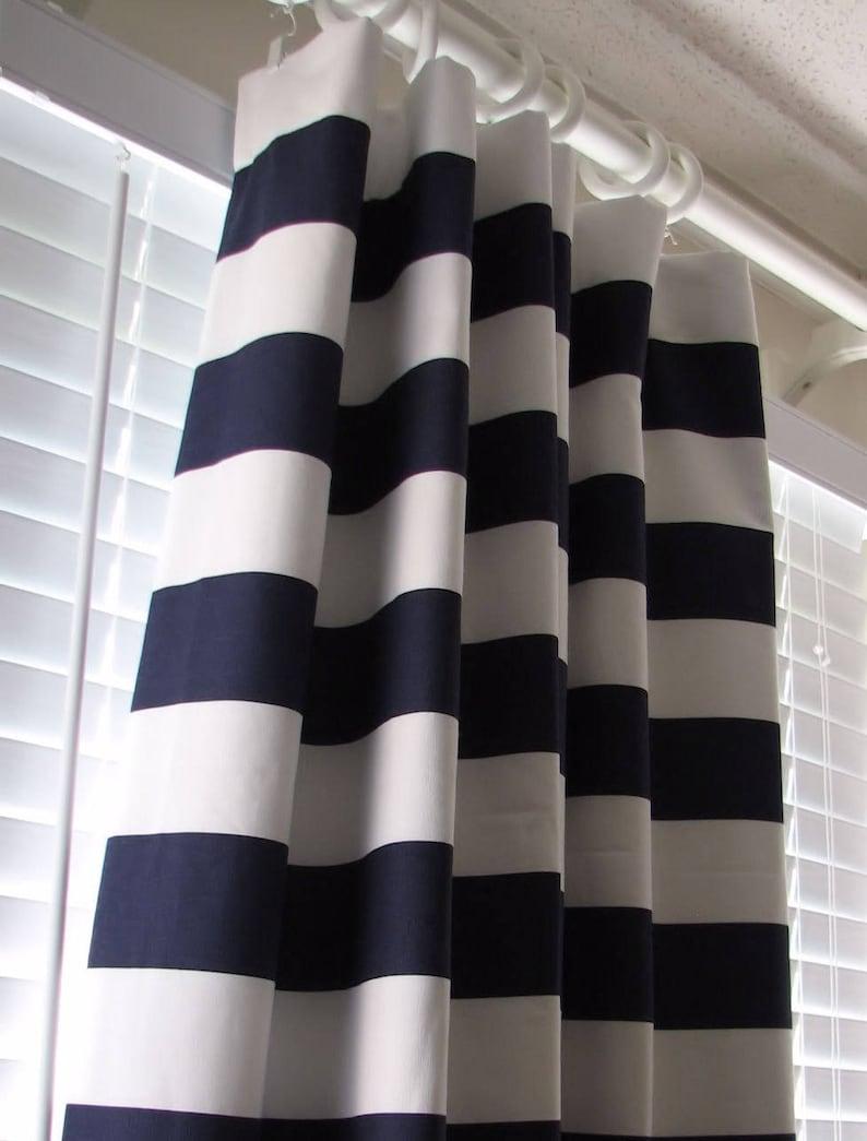 f562cbd6623 Navy Blue and White Horizontal Striped Curtains Window