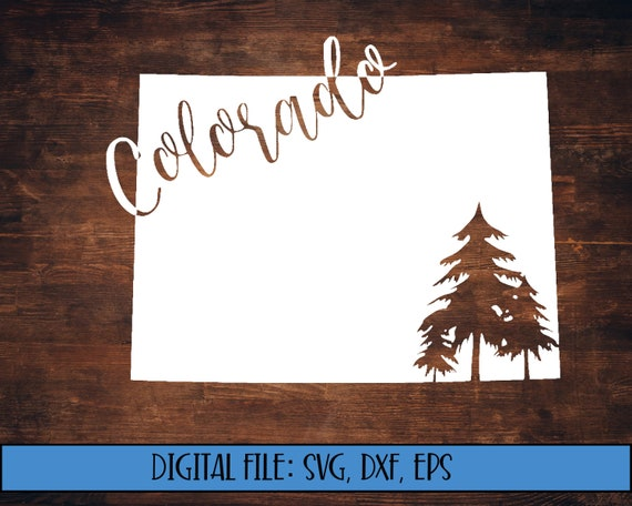 Digital Download Colorado State Silhouette With Trees Cut Etsy
