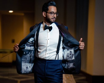 Wedding Gift for Groom Black and White Collage Silk Liner Tuxedo Jacket with Pocket Square Op 14 or 18 Photos/Men's Size 38-40/Harper Lining