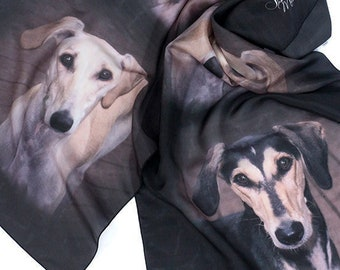 Unique Personalized Gift Scarves/Greyhound Dog Scarf Pet Portrait Memorial Silk Scarf/Fabric Printing/Pet Photo Portrait on Scarf