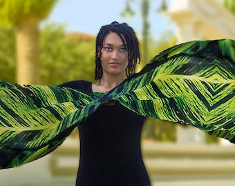 Tropical Scarf, Jungle Art ,Vines, Exotic Scarf, Silk, Florida Scarf, Limited Edition Large Art Scarf, extra large scarf Black is Green