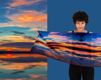 Florida Sunset Scarf/FL Sunrise Scarf/Long Narrow Silk Scarf/Florida silk Scarf/Art Scarf Orange Red Blue Yellow/Silk Scarves by Marlena
