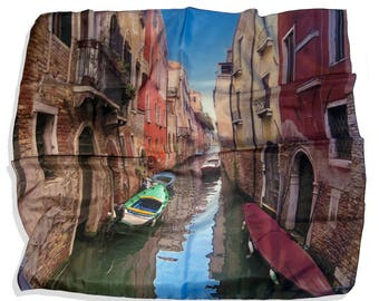 Anniversary Mullberry Silk Scarf Gift from Venice Italy Canal by the Photo  Artist Natalie/ Mulberry Silk/Made in the USA