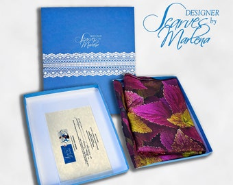 Custom Gift Box Includes Certificate of Authenticity, Care Card/Exclusively for Designer Scarves by Marlena Scarves