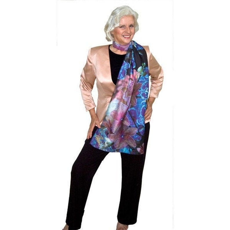 Scarf Orchids/Silk Orchid Scarf/ Scarves by Marlena/Scarf image 0