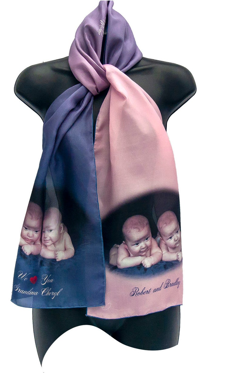 SAMPLE/Scarf/Sapphire/Silk Scarf/Color Ombre/Photos Printed on 12x65 inches