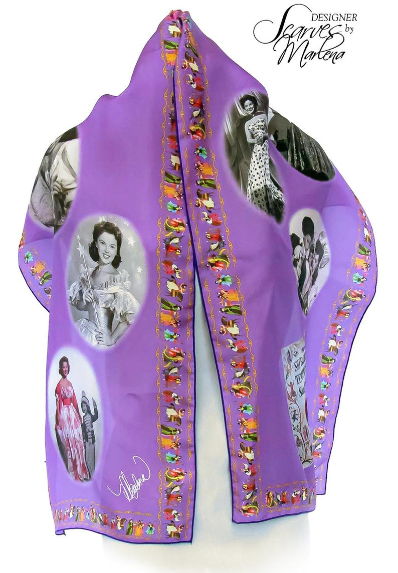 Shirley Temple Scarf/Girls Photo Gift/Collector Gift/Themed Purple