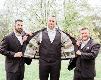 Wedding Grooms Custom Silk Jacket Tuxedo Full Lining Photo Collage B&W or Color/Custom Silk by the Yard/Women's Linings/14 Photos Duplicated