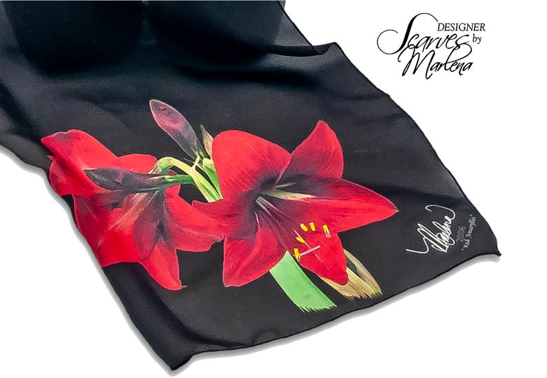 Mother's Day Red Amaryllis Scarf /Holiday image 0