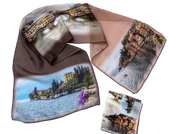 12th Anniversary or Birthday Gift Silk Scarf and Pocket Square with Italy Photos Printed/Now Available by Artist