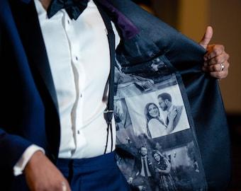 Photo Collage Wedding Tuxedo Lining Grooms Gift Men's Silk Liner/ Men's Dress Clothing/33 photos Size 38-42, B&W