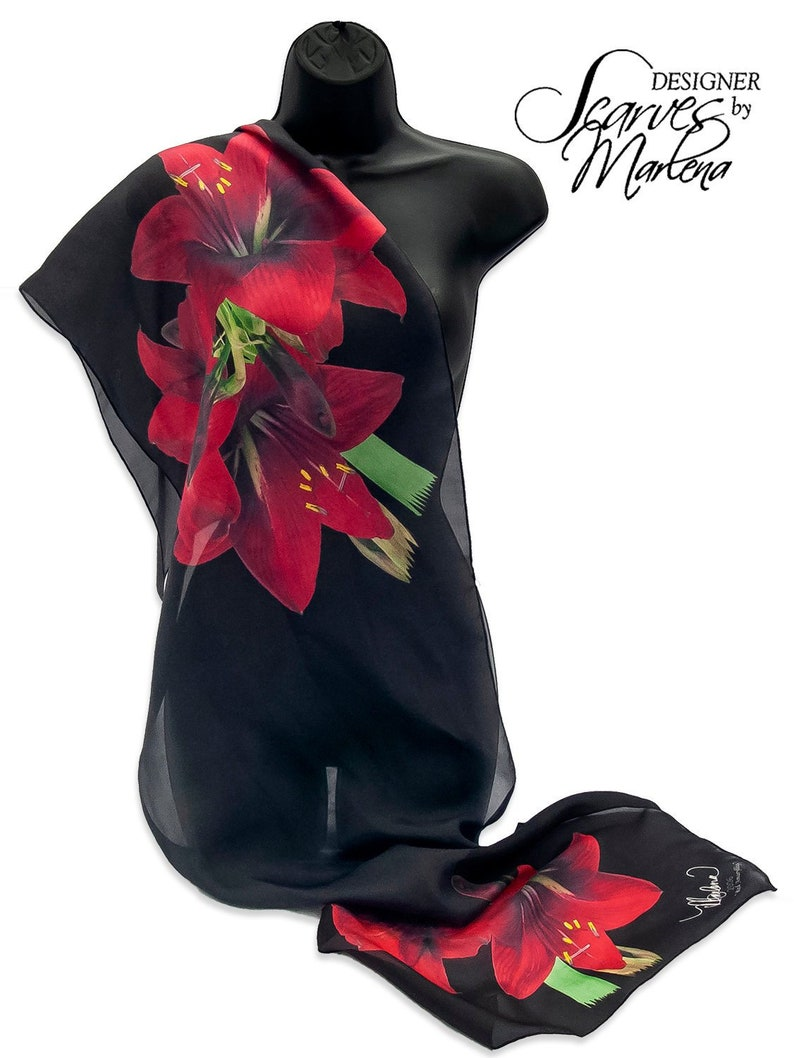 SAMPLE/Red Amaryllis Scarf /Holiday Scarf/Red Flower Scarf image 0