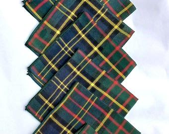 Family Scottish Tartan Silk Pocket Squares Gift  for Wedding Dad Husband Grandfather Grandmother / 20 Squares Premium 100% Silk