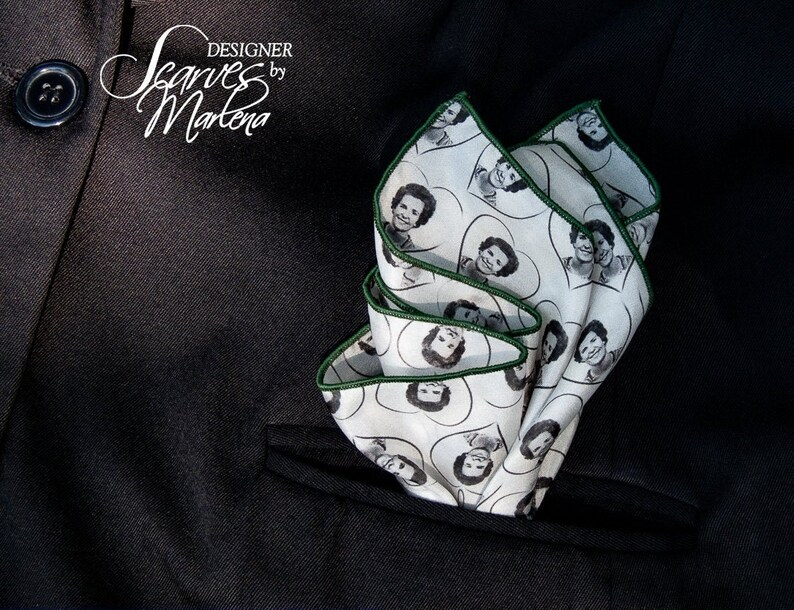 Repeat Image/Grooms Gift/Silk Handkerchief/Personalized Pocket image 0