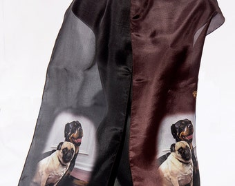Dog Gift Birthday Day Pet Lover's Custom Silk Scarf/ Dogs Cats Pug Rottweiler Boxer Scarf Custom Printed Scarf/Custom Scarf/Printed Scarf