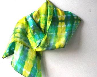 Blues and Greens Tie Dye Silk Scarf