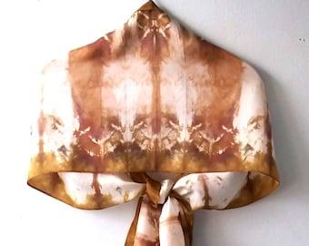 Beige Bronze Brown Tie Dye Silk Scarf