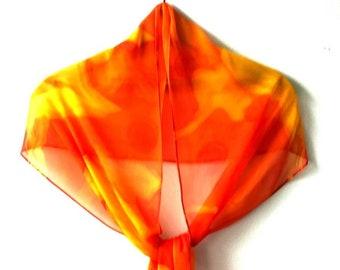 Yellow Orange Batik Chiffon Silk Scarf