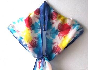 Bright Yellow Red Blue Tie-Dye Silk Scarf
