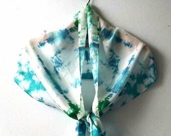 Aqua Blue Green Tie-Dye Silk Scarf