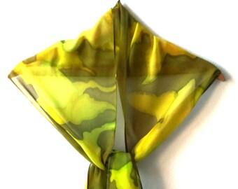 Green Batik Chiffon Silk Scarf