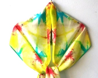 Bright Yellow Red Blue Silk Scarf