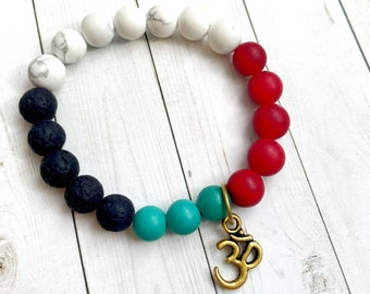 Howlite, Red Jade, and Genuine Turquoise with OM Charm Essential Oil Diffusing Bracelet - SMALL