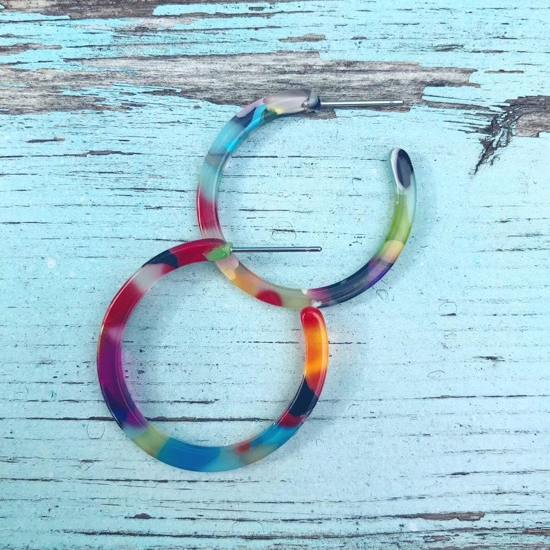 Hoops SMALL Rainbow Multicolor Acetate Hoop Earrings