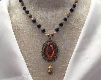 Black & Gold Wizard House Necklace