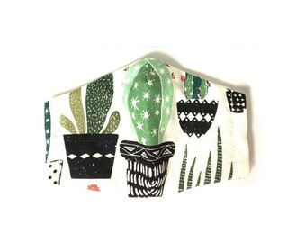 House Plants and Cactus Cotton Mask with Filter Pocket, Adult Womens Face Mask, Handmade in USA, Nose Wire Mask and Soft Elastic Straps